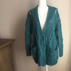 Free People boho teal mohair cardigan sweater
